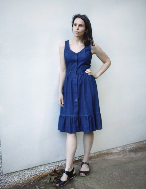 Sleeveless Dark Denim Prairie Dress, Vintage 1990s