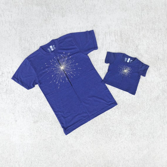 Father Son July 4th Matching Shirts, Fireworks Sparkler Summer Tshirts, Dad to Be Clothing Gift, Indigo Blue, BlackbirdSupply