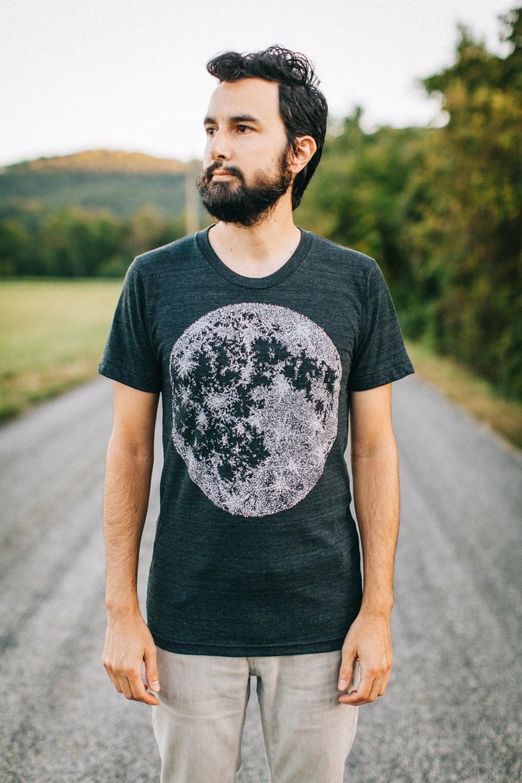 Mens Moon Shirt Astronomy Gift for Him, Autumn Fall Shirt, Full Moon Halloween Shirt Men, Outdoor Clothing Tshirt, Mens Graphic Tee