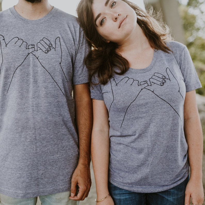 Pinky Promise Matching Tees Set of 2 Unique Birthday Gift for Girlfriend Pinky Swear Screen Print BFF Besties Best Friend Shirts