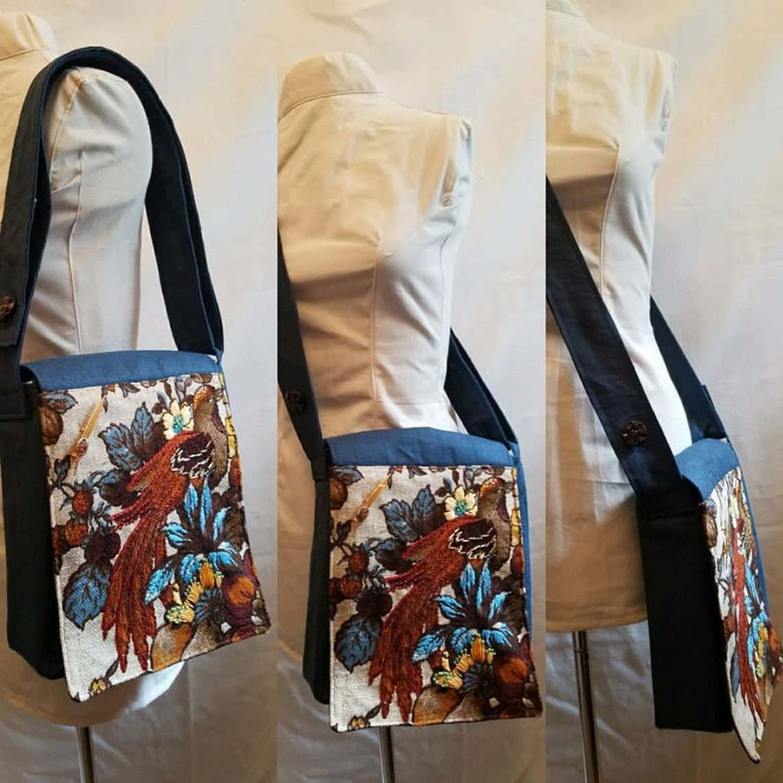 Vintage Upholstery Embroidered Bird Adjustable Crossbody Bag image 1