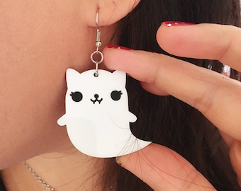 Cat Ghost Earrings - Acrylic Charms on Silver Plated Hooks