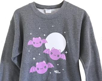 Bat Crewneck Sweatshirt - Sizes S, M, L, XL, 2X