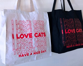 I LOVE CATS Grocery Shopping Tote Bag - Thank you Parody Totebag Purse