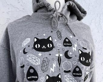 Cat Magic Hoodie - Kawaii Ghosts Unisex Sweatshirt - (Sizes S, M, L, XL, 2X)