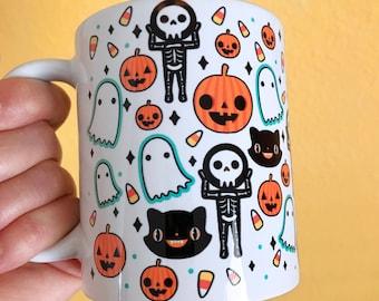 Cute Halloween Mug - Skeleton Jack O Lantern Ghost Candy