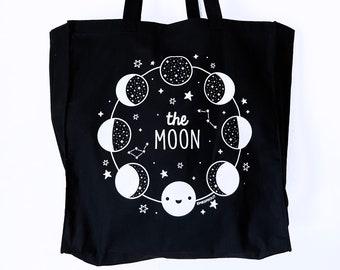 Moon Phases Gift Moon Phases Bag Moon Tote Bag Moon Lover Moon Bag Various Moon Phases