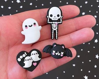 Spooky Shoe Charms Set - Ghost, Skeleton, Bat, BOO Heart