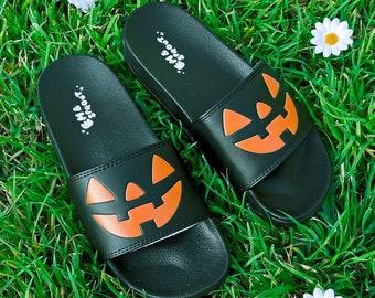 BLACK Halloween Jack O Lantern Slides - Women's Sizes 6-12