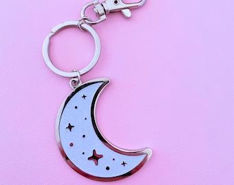 Sparkly Moon Enamel Keychain