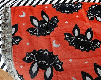"Bat Woven Tapestry Blanket 50"" x 60"""