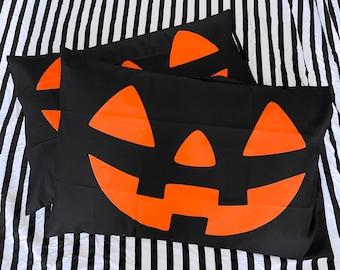 Jack O Lantern Black Pillowcase - Standard Sized Bed Pillow - Individual or Set of TWO