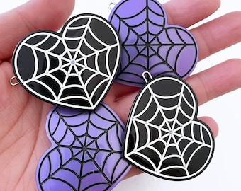 Spiderweb Heart Hair Clip - Your Color Choice