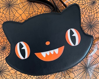 Black Cat Crossbody Backpack Convertible Halloween Bag