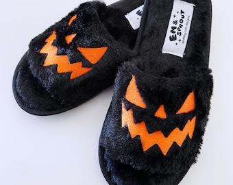 Halloween Fuzzy House Slippers -  Black Jack O Lantern Pumpkin Shoes