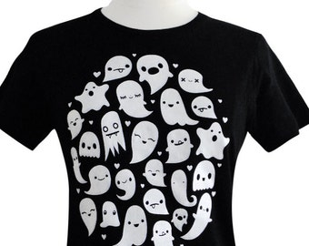 GHOST T-Shirt - Kawaii Ghosts Tee Shirt - (Available in Ladies sizes S, M, L, XL)