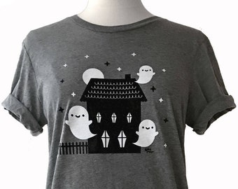 Haunted House T-Shirt - Ghost Tee Shirt - (Available in Unisex sizes XS, S, M, L, XL, 2X)