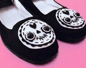 Day of the Dead Sugar Skull Mary Jane Shoes - Size 5, 6, 7, 8, 9, 10, 11