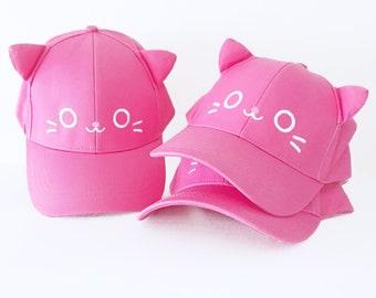 Kawaii Kitty Cat Hat With Ears - Dad Hat Baseball Cap 1d53acf19d2c
