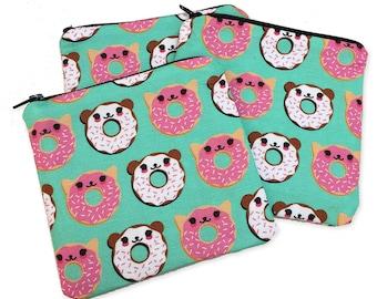 Cat Bear Donut Zipper Pouch - Coin Purse