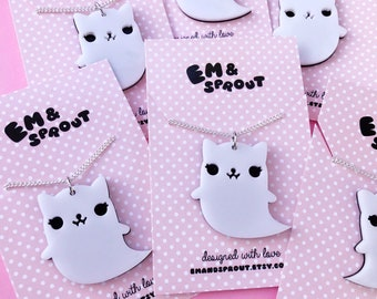 Ghost Cat Necklace - Acrylic Charm with Chain