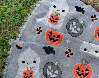 "Pumpkin Ghost Halloween Woven Tapestry Blanket 50"" x 60"""