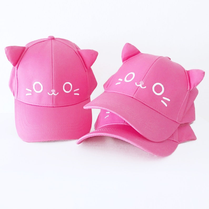 97951d6dfc Kawaii Kitty Cat Hat With Ears Dad Hat Baseball Cap