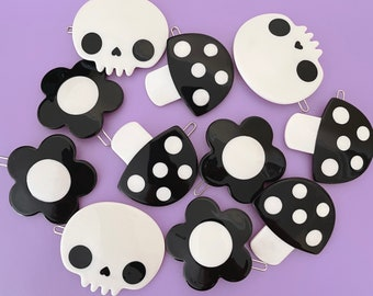 Skull, Mushroom, and Daisy Hair Clip Set or Individual