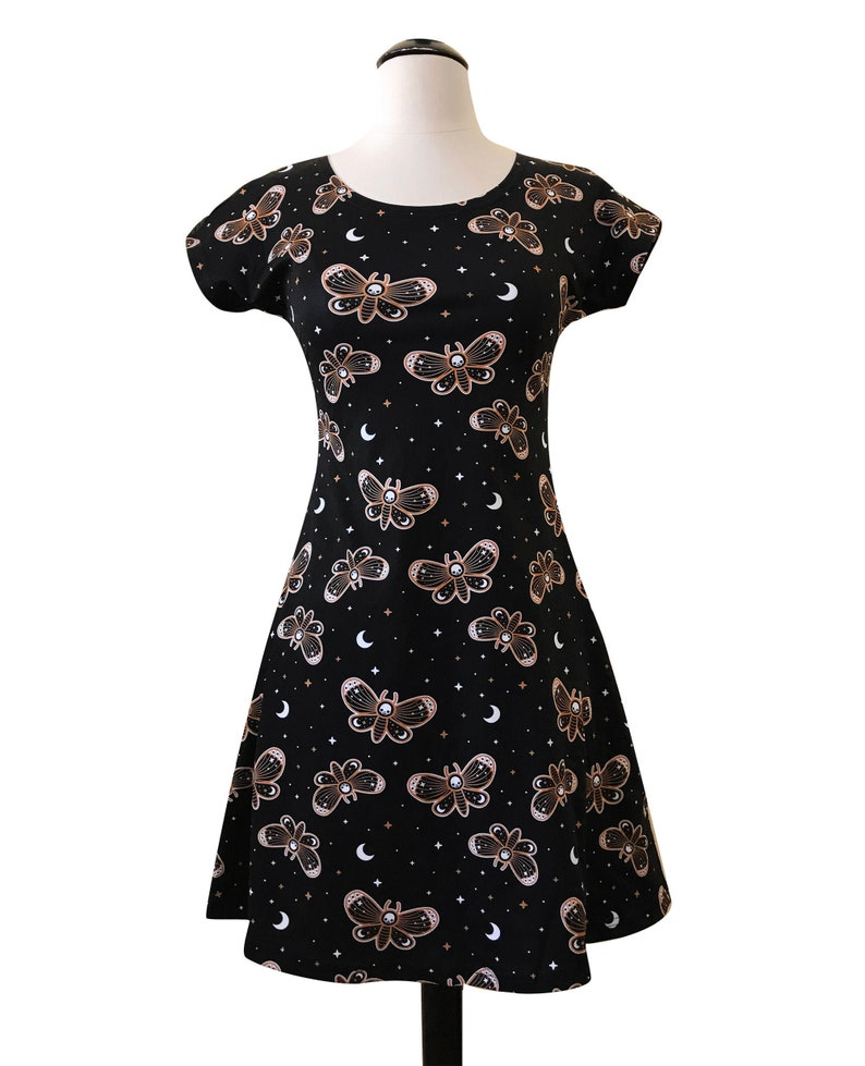 Death Head Moth Skater Fit and Flare Dress  Size S-3X  image 0