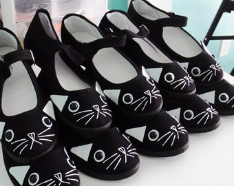 Cat Shoes - Embroidered Kitty Flats Mary Janes - SIZE 8