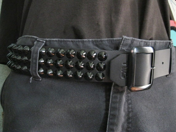 Black Leather Three Row Cone Belt from Ape Leather