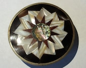 Sunburst Belt Buckle Alpaca Silver Mother of Pear Abalone Shell Red Wood Unique Design Jewelry Buckle