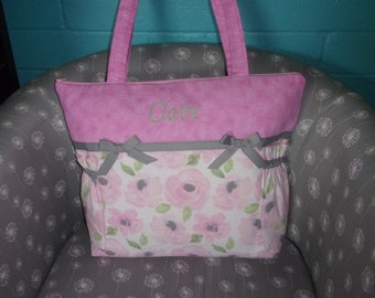 FLOWER Shower PINK and  .. Zipper Available Floral Diaper Bag SET .. Personalized Free .
