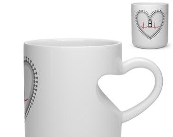 Zipper Heart Warrior - Heart Shape Mug
