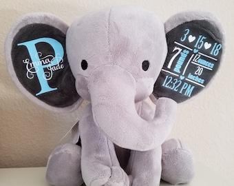 Personalized Elephant Plush Baby Birth Stats Gift (Humphrey)