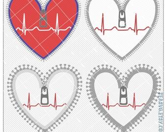 SVG: Zipper Heart - Cricut - Cuttable - Studio3 Silhouette - A.I. - DXF - E.P.S. - CHD - Zipper Club - Heart Warrior - Open Heart Surgery