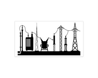 Electrical Substation - Bumper Sticker - Black on White Background