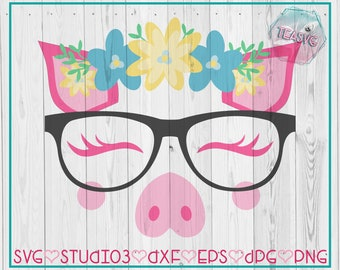 SVG: Floral Pig With Glasses  - Cricut - Cuttable - Studio3 Silhouette - DXF - EPS - Farm, Nerd, Geek, Flowers, Unicorn, Eyelashes, Hipster