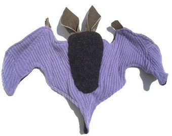 A Wool and Cashmere Bat with Lavender Wings and Leather Ears