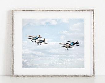 Aviation Print or Canvas, Biplane Photograph, Gift for Pilot or Veteran, Airplane, Nursery Décor, Plane Photo Wall Art, Kids Room - Aloft