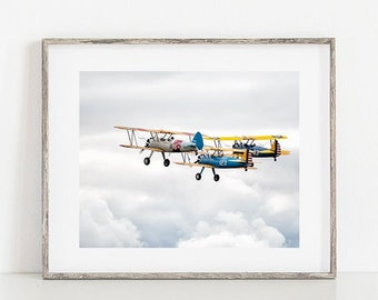 Biplane Photograph, Aviation Print or Canvas, Airplane, Gift for Pilot, Plane Photo Wall Art, Nursery Décor, Kids Room, Flight, Soar - Wings