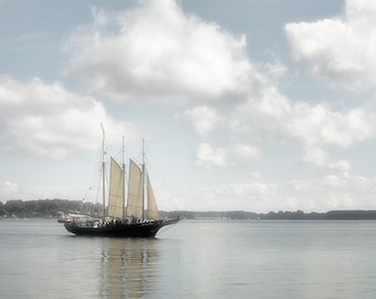 Clipper Ship Photograph, Nautical Print or Canvas Wrap, Schooner, Sailboat Art, Water, White Clouds, Gray, Pale Blue Sky - Clear Sailing