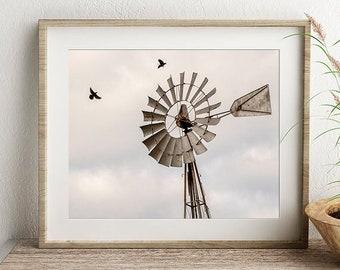 Windmill Print or Canvas, Birds, Crows, Farmhouse Decor, Farm Wall Art, Rural Photo, Country Wall Decor, Rustic Home Decor  - High Flying #2