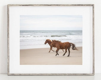 Horse Photo, Wild Horse Art, Print or Canvas, Large Wall Decor, Rustic Art, Animal Photograph, Spanish Mustangs, Beach Ocean - Running Wild