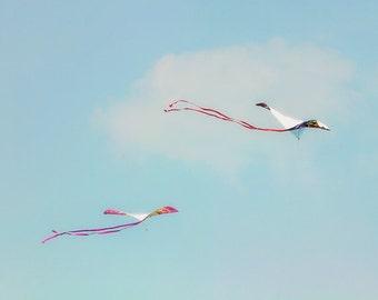 Kite Photography, Beach Wall Art, Teal Blue Sky, Nursery Decor, Kite Picture, Summer, Soar, Flying Kites, Beach Cottage Decor  - Wind Dance