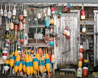Nautical Photography, Fishing Print or Canvas, New England Photo, NE Maritime Art, Buoys, Rustic Art, Beach House Decor - Lobster Shack