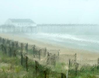 Ocean Photography, Rainy Day Photograph, Print or Canvas, Pier, Beach Picture, Coastal Photo, Beach House Art, Nautical Decor - Summer Rain