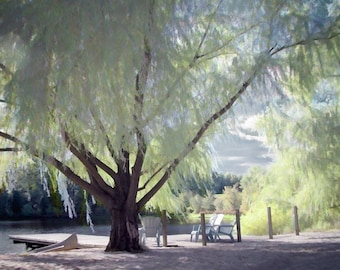 Nature Photography, Weeping Willow Tree Photograph, Summer, Canoe, Lake, Dock, Surreal, Dreamy, Pastels, Pale Green, Blue - Lazy Afternoon