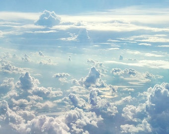 Cloud Photography, Water, Cloud Print, River, Nursery Decor, Dreamy Blue Sky, White Clouds, Aerial View, Travel, Nature, Teal - Heaven Above