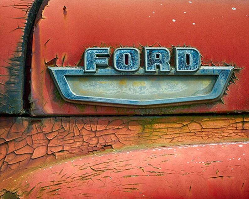 Antique Truck Photography Vintage Ford Truck Emblem Old Car image 0
